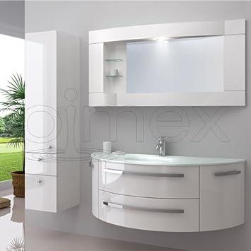 """Badezimmermöbel weiß  OimexGmbH Design Badmöbel Set """"Côte d'Azur"""" Weiß Hochglanz ..."""