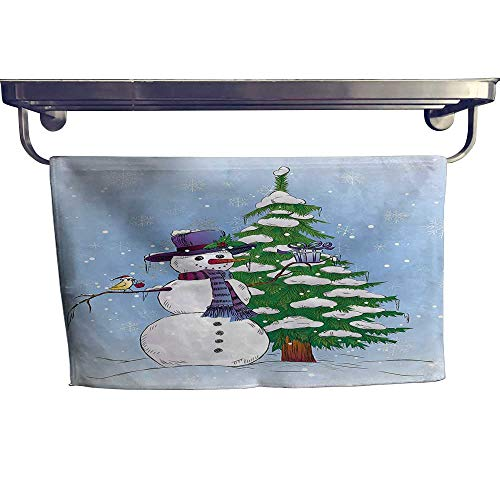 "HoBeauty home Sports Ttowel,Snowman in Winter with Mistletoe Gift Box Top Hat and Scarf Xmas Tree,Ultra Soft, Cozy and Absorbent W 23.5"" x L 8"""