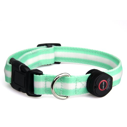 SAVFY® Dog Safety Pet Collar Strong Strap Buckle LED Flashing Illuminous 6 LEDs + 3 Easy Click Modes Latest Version, One Size Fit All Adjustable upto 55 cm (Green)
