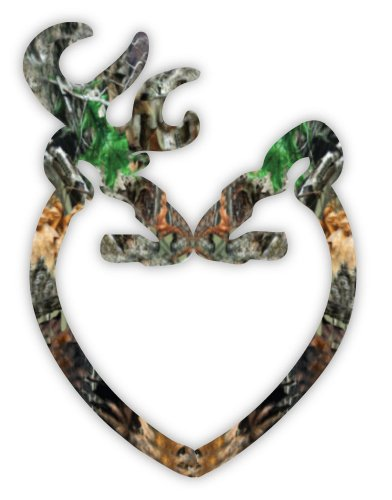 Camo Mossy Oak Buck and Doe Deer Heart sticker decal 4
