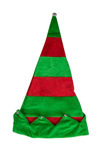 Forum Green Beanie (Novelty Red and Green Christmas Holday Santa's Elf Hat with Jingle Bells by Clever Creations | One Size Fits Most Christmas Hat For Both Kids and Adults)