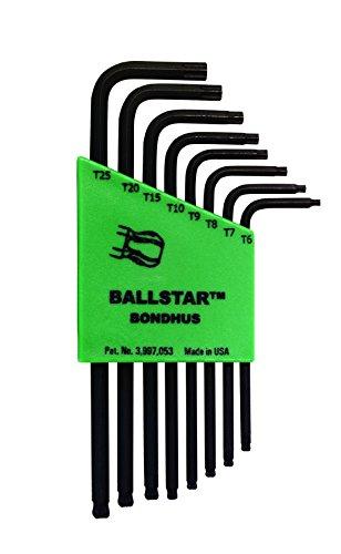 sizes T6-T25 Bondhus 11331 Set of 8 BallStar L-wrenches