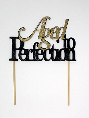 All About Details CATATPE Aged to Perfection Cake Topper (Black and Gold), 4'' height (plus 4'' wood stick handles) and up to 6'' width by All About Details (Image #4)