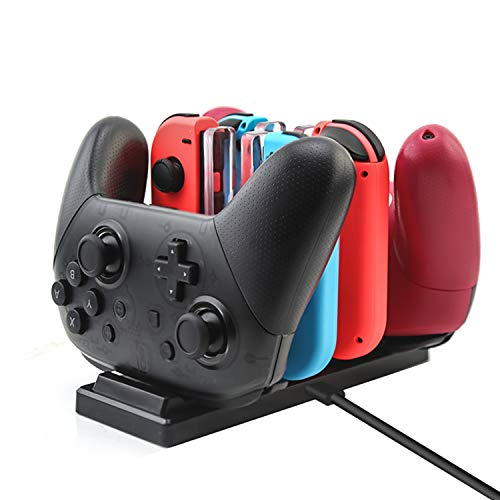 Rytaki Controller Charger for Nintendo Switch, Charging Dock Stand Station for Switch Joy-con and Pro Controller with Charging Indicator and Type C Charging Cable