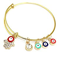 Womens Gold Enamel Evil Eye Hamsa Fatima Hand Expandable Wire Bangle Bracelet sakcharn ERAWAN