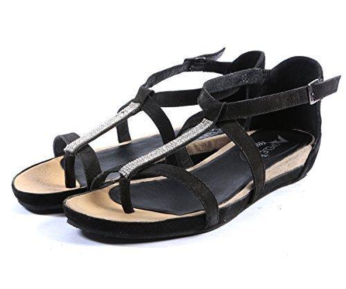 En Sandales Pour Et Décontracté Mode Femmes Noir Cuir Beige w66qxUf5zW
