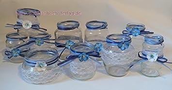 10 Windlichter Vasen Hochzeit Tischdeko Herz Spitze Vintage