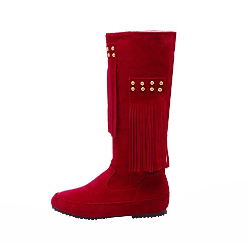 Suede Flat Moccasin Women's Fringe High Calf Mid Boots Fashion Red Eclimb HqSPfwn