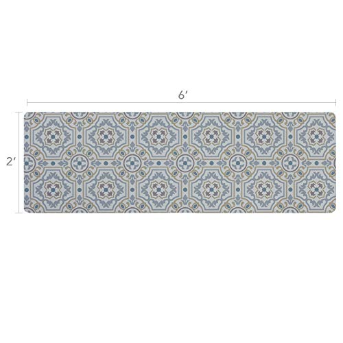 - Vinyl Floor Runner, Durable, Soft and Easy to Clean, Ideal for Kitchen Floor, Entryway or Hallway Floor Mat. Freestyle, Tweed Tapestry Pattern (2 ft x 6 ft)