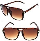 Men's Hip Hop 80's Vintage Sunglasses Grandmaster Large Square Shape Hip Hop Aviator Matte Rubber Frame 80's (Brown Gold, Brown)
