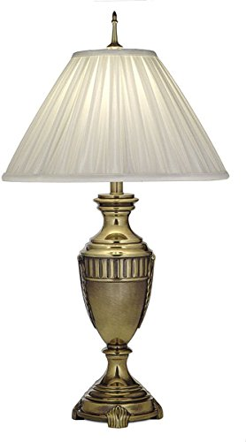 (Stiffel TL-N7903-BB One Light Table Lamp, Burnished Brass Finish with Oyster Silksheen Shade)