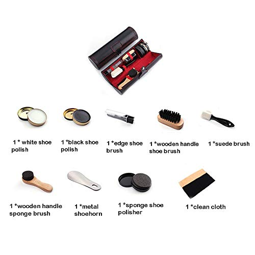 10 Pièces Kit de Cirage Kit d'entretien pour Chaussures Kit Nettoyage Chaussure avec Voyage Étui PU - Très complet… 2