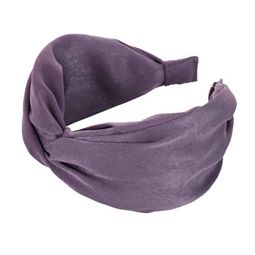 Pengy Headbands for Womens Headwraps Knitted Wide Headbands Twist Knot Cross Stretchy Solid Simple Hair Headwear Purple