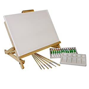 US Art Supply 21pc Acrylic Painting Table Easel Set with, Acrylic Paint, 11inch x 14inch Canvas, Palette, 6 Brushes