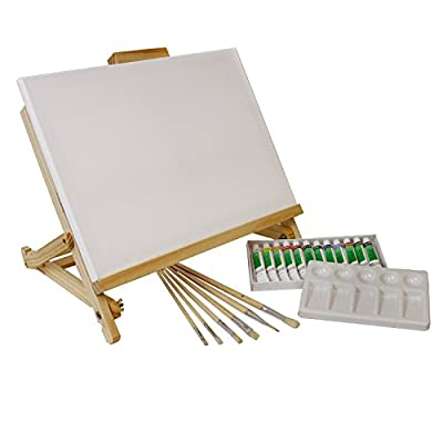 "US Art Supply 21-Piece Acrylic Painting Table Easel Set with, 12-Tubes Acrylic Painting Colors, 11""x14"" Stretched Canvas, 6 Artist Brushes, Plastic Palette with 10 Wells"