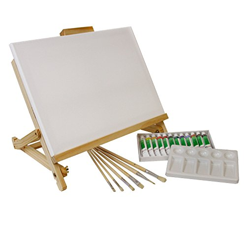"US Art Supply 21-Piece Acrylic Painting Table Easel Set with, 12-Tubes Acrylic Painting Colors, 11""x14"" Stretched Canvas, 6 Artist Brushes, Plastic Palette with 10 Wells from US Art Supply"