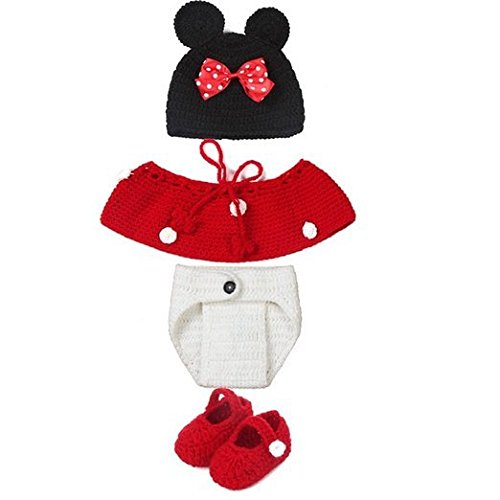 [CX-Queen Newborn Baby Girl Handmade Crochet Minnie Mouse Hat Costume Outfit Photography Prop] (Minnie Mouse Outfit For Babies)