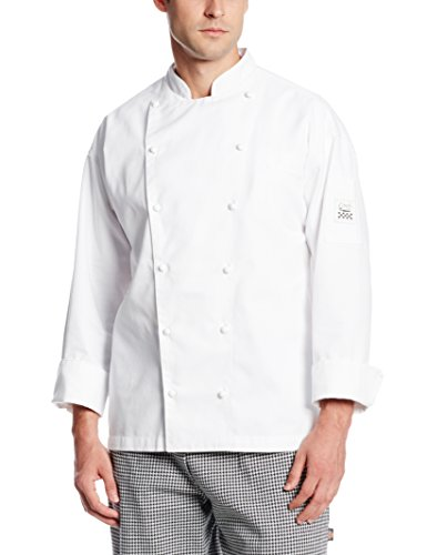 Chef Revival J023 Chef-Tex Poly Cotton Classic Long Sleeve Chef Jacket with Pocket and Push Through Button, Large, White Button Through Pocket