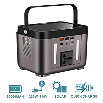 OppsDecor 222Wh 60000mAh Portable Power Station, Solar Generator with 110V Pure Sinewave AC Outlets, DC Outputs and USB QC3.0, Power Supply for CPAP Backup, LED Flashlights for Camping Travel