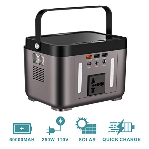 OppsDecor 222Wh 60000mAh Portable Power Station, Solar Generator with 110V Pure Sinewave AC Outlets, DC Outputs and USB QC3.0, Power Supply for CPAP Backup, LED Flashlights for Camping Travel (Black)