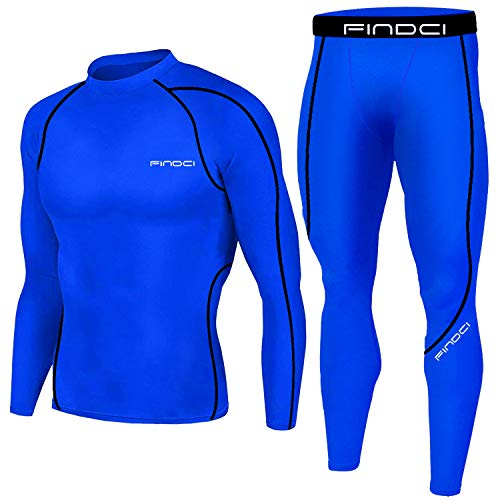 1Bests Men's Sports Running Set Compression Shirt + Pants Skin-Tight Long Sleeves Quick Dry Fitness Tracksuit Gym Yoga Suits (KBOO-Deep Blue, M) ()