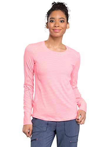Cherokee Infinity CK765 Women's Long Sleeve Underscrub Knit Tee Poppy Pink/White L