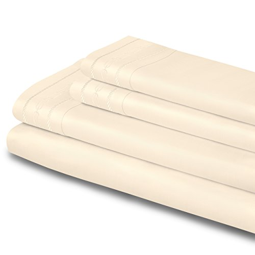 [Superior 1000 Thread Count 100% Egyptian Cotton Full Embroidered Sheet Set Ivory] (Check 1000 Thread)