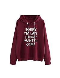 XUANOU Women O-Neck Hoodie Jumper Long Sleeve Print Sweatshirt Pullover Tops