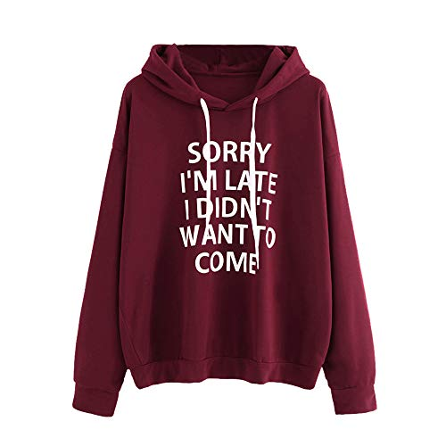 HGWXX7 Women Hoodie Loose Letter Print Long Sleeve Pullover Tops Blouse Shirt Sweatshirt (2XL, Wine) ()