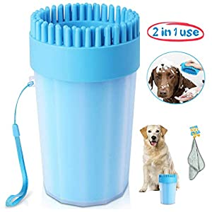 Upgrade Dog Paw Cleaner Dog Cleaner Portable with Towel Dog Cleaning Brush Paw Cleaner for Dogs and Cats