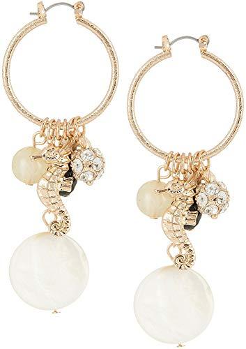 - Bay Studio Seahorse Shell Bead Cluster Hoop Earrings White/black/gold tone