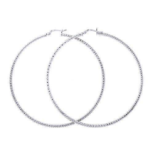 (Sterling Silver Rhodium Plated 2mm Diamond Cut Hoop Earrings, 60mm (2 3/8 in))