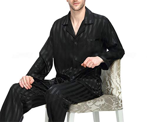 Set Notte Black Da Seta Plus Uomo SMLXl2xl3xl4xl Striped In Raso Loungewear Pigiama Availcx Di H2DIWE9