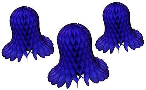 3-Piece Tissue Paper Bells, Dark Blue, 9-15 Inch