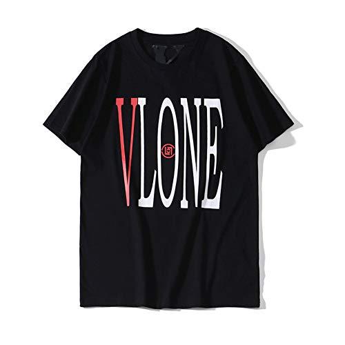 Vlone Tide Big V Letter Printing Short Sleeve Couples Loose T-Shirt (Black, XL)