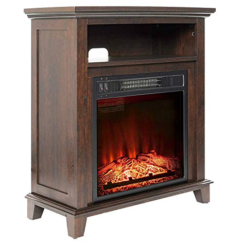 Cheap Swag Pads Freestanding Electric Fireplace Heater in Brown Wood Finish Black Friday & Cyber Monday 2019