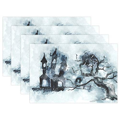 ZZKKO Ink Painting Style Halloween Castle Black Cat and Moon 12x18 Inch Placemats for Kitchen Table Colorful Polyester Water Resistant Home Decor Plate Mat Set of 6,Multicolor ()