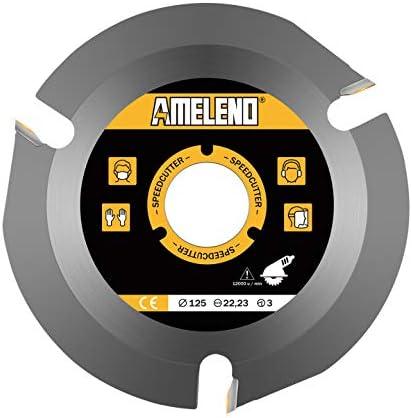 Hoja de sierra circular 125 x 22mm, 3 dientes Sierra circular madera, disco radial amoladora madera,wood carving dics Apto para amoladoras angulares