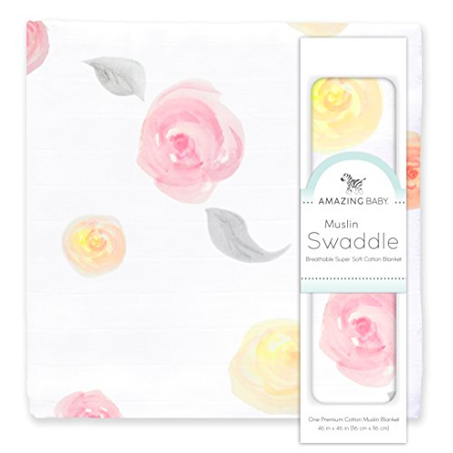 Amazing Baby Muslin Swaddle Blanket, Premium Cotton, Watercolor Roses, Pink