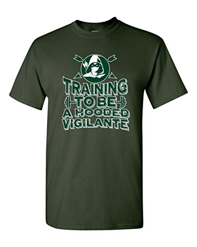Training To Be A Hooded Vigilante Arrow DT Adult T-Shirt Tee (Large, Forest Green)