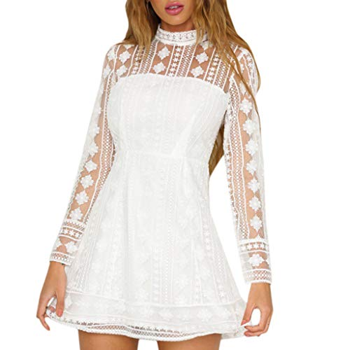 JHKUNO Women Dresses, Women's Sexy High Neck Lace Long Sleeve Backless Perspective Floral Print Thigh Length Mini Skirt White - Neck Thigh Length Lace