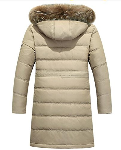 Lingswallow Men's Winter Thicken Khaki Faux Fur Hooded Long Down Jacket Coat by Lingswallow (Image #3)