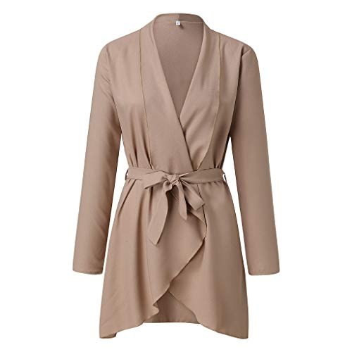 Trench Coats for Women Lovor Ladies Raw Cut Hem Waterfall Collar Long Sleeve Wrap Trench Pea Coat Cardigan with Belt(Khaki,XL)