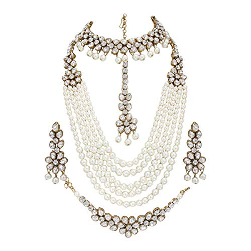 CROWN JEWEL Indian Bridal Pearl 5 pc Combo Jewelry Wedding Gold Necklace Earring Set (White)