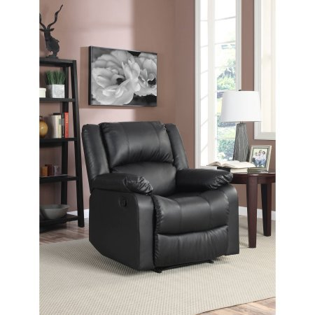Warren Recliner Single Chair, Black | High Density Foam Cushions | Plush Microfiber Upholstery