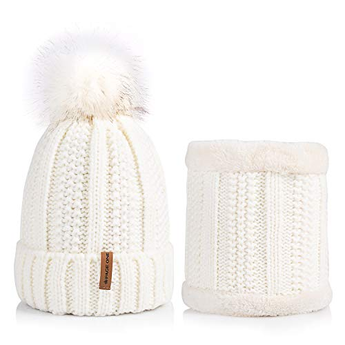 PAGE ONE Womens Winter Cable Knit Beanie Scarf Set Faux Fur Pompom Hat Fleece Lined Cap (White)