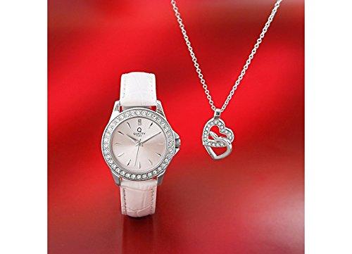 Quality Time Montre Femme Chaîne + Pendentif en forme de cœur avec coffret  cadeau en cuir 61be6c0eb34