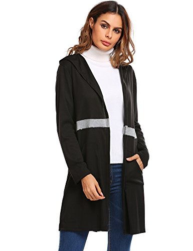 Soteer Womens Casual Open Front Long Sleeve Drape Cardigan With Pockets Black - Not On What's The High Street