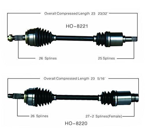 100% New Front Complete Cv Drive Axle Shafts for Honda Civic 1.3L Hybrid 06-11