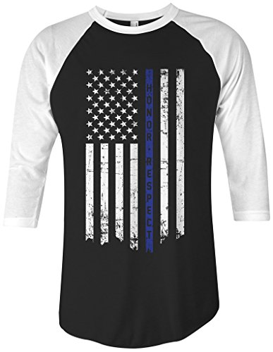Threadrock Honor & Respect Thin Blue Line Flag Unisex Raglan T-shirt S (A-line Shirt)